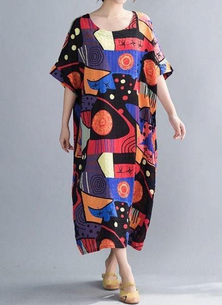 Blue Plus Size Tunic Color Block Round Neckline Casual Midi Plus Dress_1