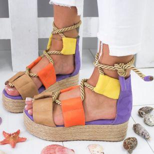 Women's Lace-up Flats Cloth Flat Heel Sandals_1