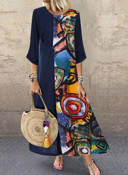 Red Plus Size Color Block Round Neckline Casual Maxi Shift Dress Plus Dress_3