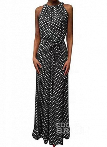 Red Casual Polka Dot Sashes Round Neckline X-line Dress_3