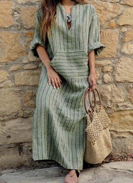 Green Plus Size Stripe V-Neckline Casual Pockets Plus Dress_1