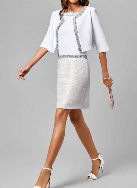 Elegant Color Block Wrap Tunic Shift Dress_6