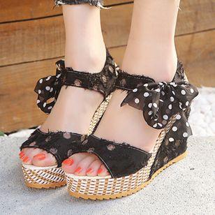 Women's Bowknot Heels Cloth Wedge Heel Sandals_2