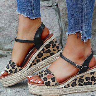 Women's Leopard Buckle Slingbacks Leatherette Wedge Heel Sandals Wedges_5