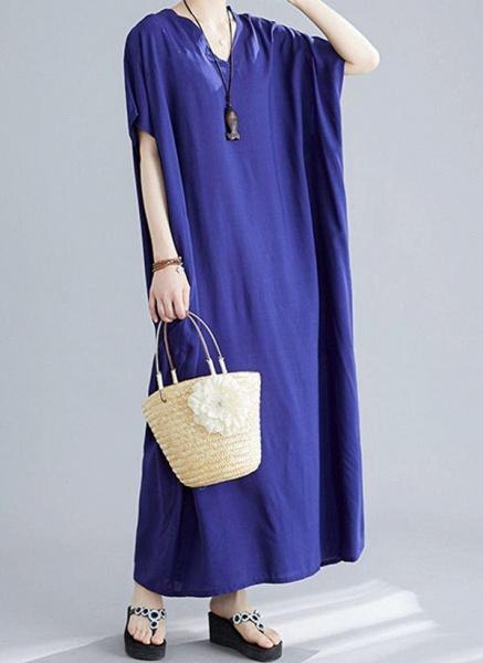 Royal Blue Plus Size Tunic Solid V-Neckline Casual Maxi Plus Dress_8