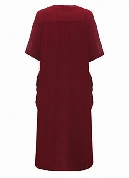 Dark Blue Plus Size Solid Casual Pockets Maxi Shift Dress Plus Dress_4
