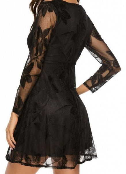 Casual Floral Skater V-Neckline X-line Dress_4