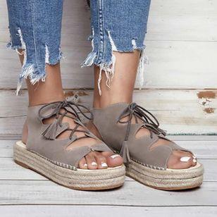 Women's Lace-up Slingbacks Cloth Wedge Heel Sandals_2