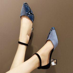 Women's Buckle Heels Nubuck Chunky Heel Sandals_2