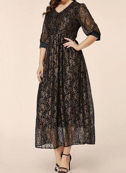 Black Plus Size Floral V-Neckline Elegant Lace Maxi Plus Dress_1