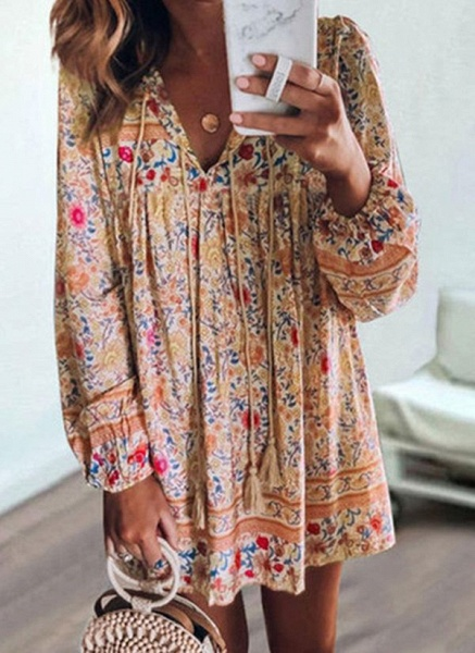 Casual Floral Tunic V-Neckline Shift Dress_1