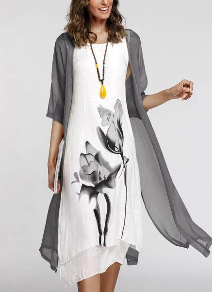 Floral Wrap Round Neckline Midi X-line Dress_23