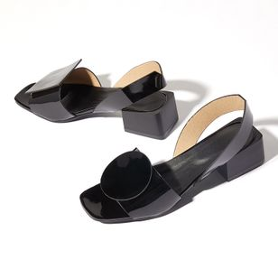Women's Others Square Toe Patent Leather Low Heel Sandals_3
