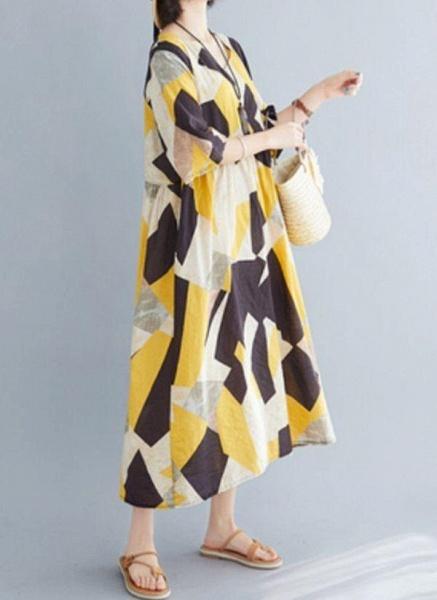 Yellow Plus Size Tunic Color Block V-Neckline Casual Midi Plus Dress_1
