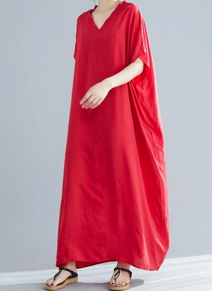 Royal Blue Plus Size Tunic Solid V-Neckline Casual Maxi Plus Dress_6