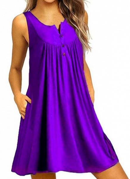 Royal Blue Plus Size Tunic Solid Round Neckline Casual Pockets Plus Dress_8