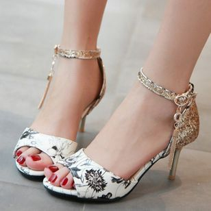 Women's Beading Buckle Heels Leatherette Stiletto Heel Sandals_6
