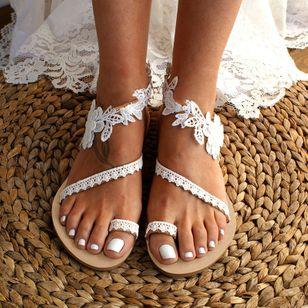 Women's Flower Toe Ring Lace Flat Heel Sandals_2