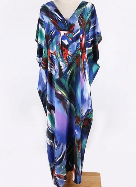 Brown Plus Size Color Block V-Neckline Casual Arabian Maxi Shift Dress Plus Dress_5