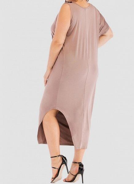 Khaki Plus Size Tunic Solid Round Neckline Casual Elegant Midi Plus Dress_1