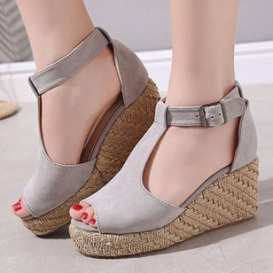 Women's Buckle Ankle Strap Peep Toe Nubuck Wedge Heel Sandals_2