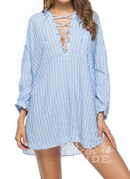Blue Plus Size Tunic Stripe V-Neckline Casual Above Knee Plus Dress_5