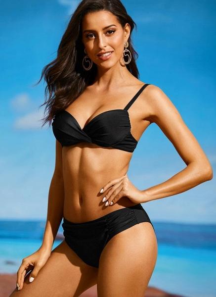 Plus Size Polyester Solid Bikinis Swimwear_1