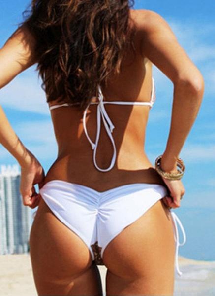 Polyester Halter Color Block Sequins Bikinis Swimwear_2