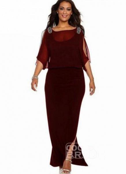 Blue Plus Size Solid Round Neckline Boho Maxi Sheath Dress Plus Dress_3