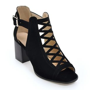 Women's Buckle Hollow-out Chunky Heel Sandals_1