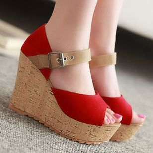 Women's Buckle Peep Toe Heels Nubuck Wedge Heel Sandals_2