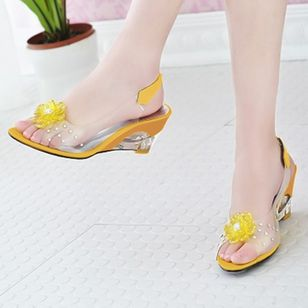 Women's Flower Slingbacks Patent Leather Wedge Heel Sandals_2