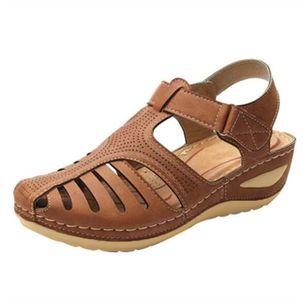 Women's Buckle Flats Low Heel Sandals_3