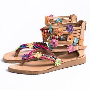 Women's Applique Zipper Flip-Flops Flat Heel Sandals_1