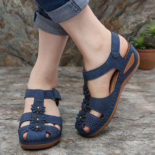 Women's Flower Slingbacks Nubuck Flat Heel Sandals_2