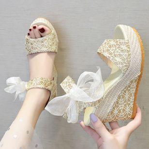 Women's Geometric Lace-up Heels Cloth Wedge Heel Sandals_1