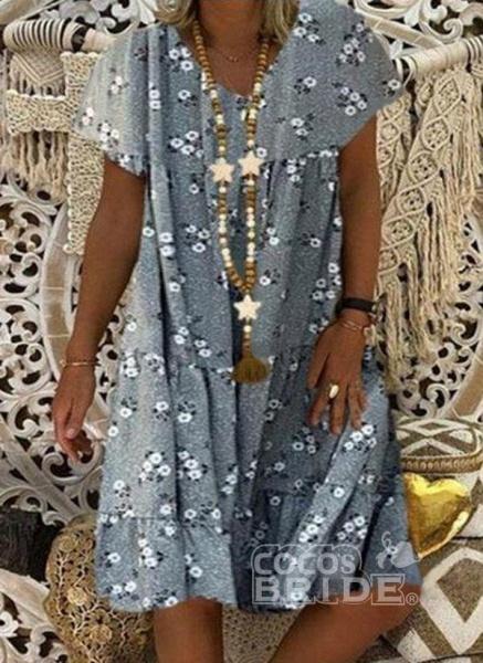 Blue Plus Size Tunic Floral V-Neckline Casual Knee-Length Plus Dress_3