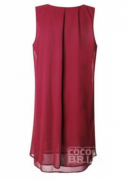 Burgundy Plus Size Solid Round Neckline Elegant Knee-Length Shift Dress Plus Dress_5