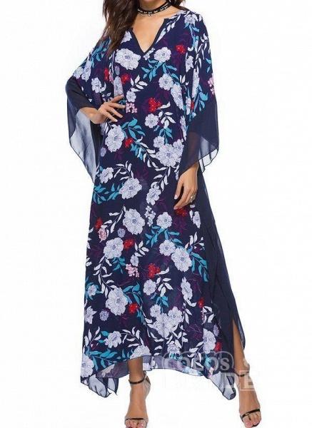Plus Size Tunic Floral V-Neckline Casual Plus Dress_4