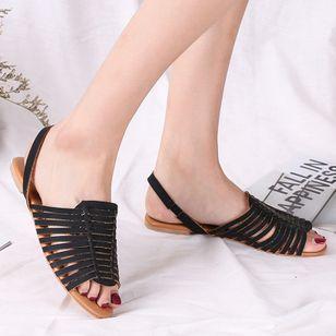 Women's Braided Strap Slingbacks Flat Heel Sandals_2