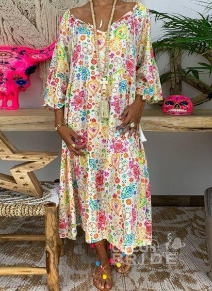 Multicolor Plus Size Floral V-Neckline Vintage Tassel Maxi Plus Dress_2
