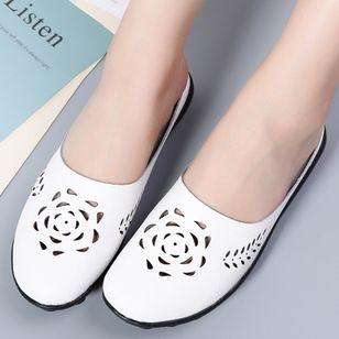 Women's Hollow-out Flower Closed Toe Slingbacks Flat Heel Sandals_5
