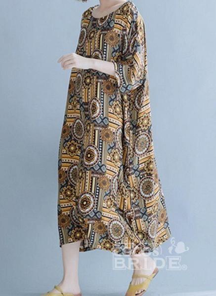 Khaki Plus Size Tunic Floral Round Neckline Casual Midi Plus Dress_4