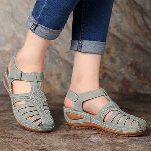 Women's Hollow-out Velcro Round Toe Flat Heel Sandals_1