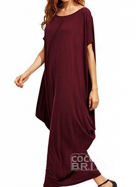 Black Plus Size Tunic Solid Round Neckline Casual Maxi Plus Dress_4