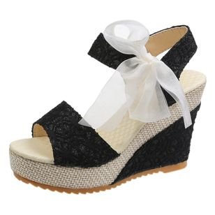 Women's Geometric Lace-up Heels Cloth Wedge Heel Sandals_5
