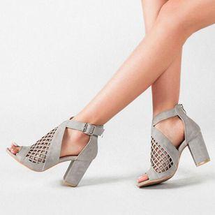 Women's Net Surface Buckle Ankle Strap Peep Toe Chunky Heel Sandals_5