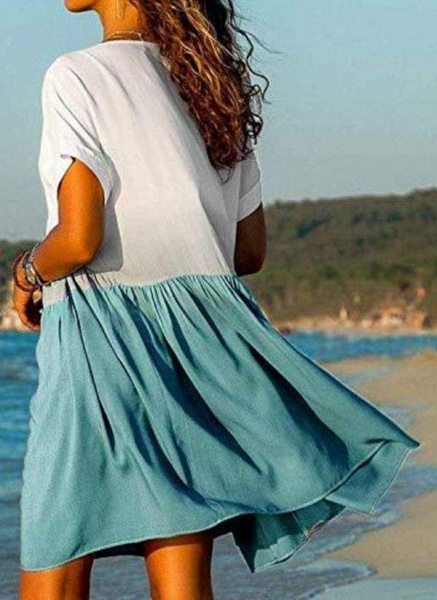 Rose Plus Size Tunic Color Block V-Neckline Casual Above Knee Plus Dress_1