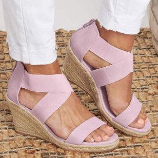 Women's Leopard Zipper Round Toe Heels Wedge Heel Sandals_1