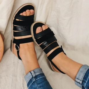 Women's Buckle Round Toe Flat Heel Sandals_7